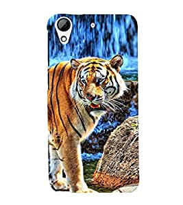 99Sublimation Roaring Tiger at Water fall 3D Hard Polycarbonate Back Case Cover for HTC Desire 728