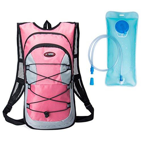 hotspeed Rucksack Tasche Trinksystem mit Trinkblase für Radfahren Wandern Bergsteigen Camping Klettern etc schwarz orange blau rot Rose 12L