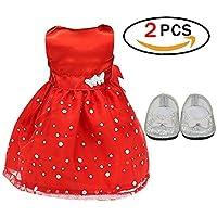 Vestido de muñeca sin Mangas para la Fiesta del Vestido para niñas muñecas Americanas de 18 Pulgadas con Zapatos Bling Bling Bowknot Rojo
