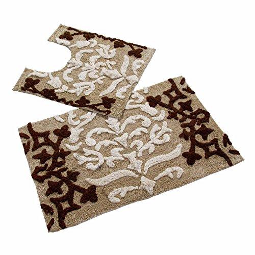 Auf Einem Damast Teppich (Homescapes 2-teiliges Badematten-Set Damask Badematte 50 x 80 cm und WC Vorleger 50 x 55 cm 100% reine Baumwolle beige braun)