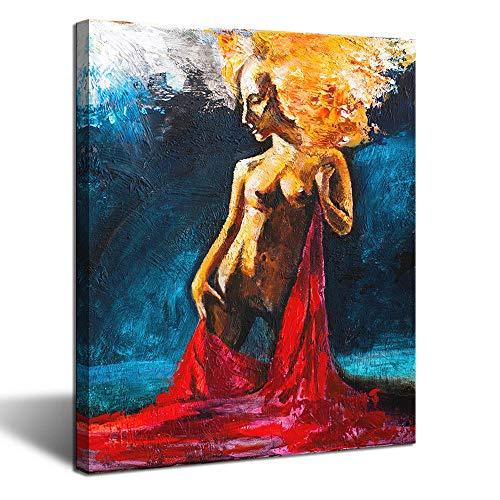 iKNOW FOTO Wandbild auf Leinwand, Motiv Sexy nackte Frau, modernes Design, HD Bedruckt, gerahmt, aufhängfertig, für Wohnzimmer, Paar, Schlafzimmer, Wände, Dekorationen 61 x 81 cm -