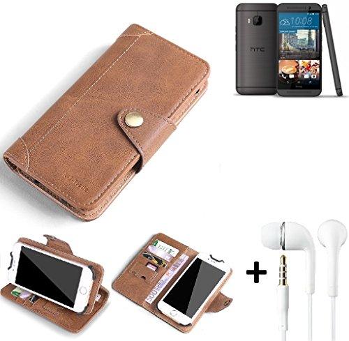 K-S-Trade® Schutzhülle für HTC One M9 (Prime Camera Edition) Hülle Tasche Handyhülle Handytasche Wallet Flipcase Cover Handy Tasche Kunsteleder Braun Inkl. in Ear Headphones