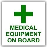 1x attrezzature mediche su board-green su bianco, esterno autoadesivo stickers-medical, segni di salute e sicurezza, allarme, allarme, comunicazione, consumatori, individuale, auto, bus, taxi