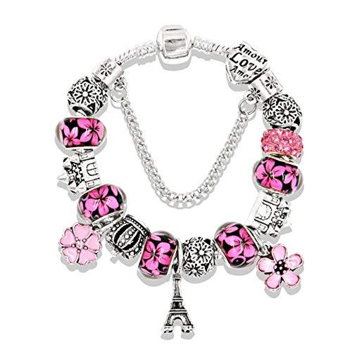 Baostic Armschmuck Antique Silver Color Eiffel Tower Pan Charm Bracelet Crystal Flower Bead Bracelets & Bangles for Women Jewelry Gift 925 Silver 20CM (7.9 inch)