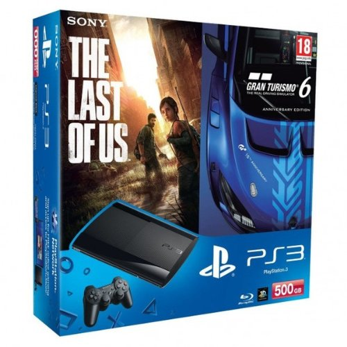 PlayStation 3 - Konsole Super Slim 500 GB (inkl. DualShock 3 Wireless Controller + Gran Turismo 6 (GT6) und The Last of Us)