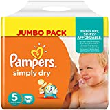Pampers Windeln Simply Dry Gr. 5 Junior 11-25 kg Jumbo Pack, 2er Pack (2 x 66 St�ck)