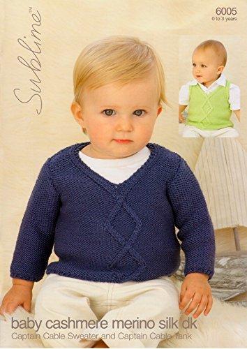 Sublime Kabel Pullover & Tank Baby Kaschmir Merino Seide DK Strickmuster 6005