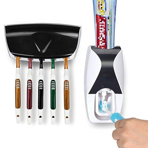 Triplespark Automatische Zahnpastaspender Zahnpasta mit Zahnbürstenhalter, Zahnbürsten-Halterung für 5 Zahnbürsten, Montage ohne Bohren und Schrauben