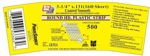 Full Round Head Nails (Grip-Rite 16d Short - 3-1/4-Inch x .131 Vinyl Coated, Smooth Shank, 21? Full Round Head, Plastic Collated, Stick Framing Nails - 500 per tub by Grip-Rite)