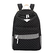 Fieans Multifonctionnel Sac à dos en toile Sac d'école Sac porté épaule - Pour Voyages, scolaire, loisirs -Cartable en toile-Noir