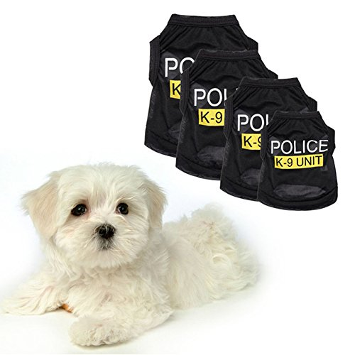 Hund, Polizei-weste (Pet Weste Polizei schwarz gedruckt Haustier Kleidung Hund Katze Weste T-shirt Sommer Bekleidung Kostüme)