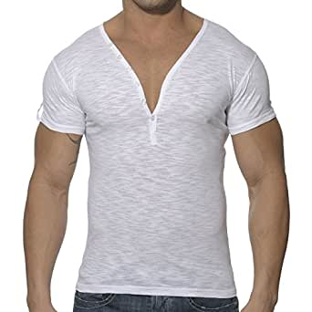 ES Collection T-Shirt Button Down Slim Fit Blanc