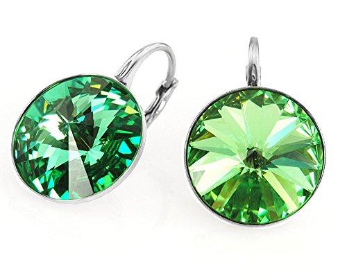 Crystals & Stones *RIVOLI* 14 mm *Perdiot* 925 Silber Ohrringe Damen Ohrhänger mit Kristallen von Swarovski Elements