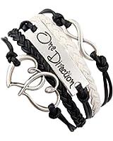 ASHIA retro vintage Damen Leder Bronze Herz One Direction LOVE Freundschaft Armband Lederarmband Bracelet mit Charm Anhänger Geschenk Gift (schwarz)