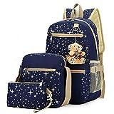 Hylzd Scuola Borse 3Pcs/Set Donne Zaino Star Printing Carino Daypacks Con Orso Per Adolescenti Ragazze Travel Bag Zaini,C