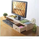 Holzmonitorständer, Desktop Monitor Riser, TV-Ständer und Schreibtisch-Organizer, mit Ablagefächern für Bürobedarf und Stauraum für Tastatur und Maus, Wide Screen Riser für Computermonitor (Standfuß)