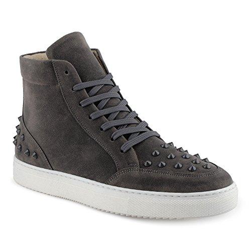 FiveSix Herren Sportschuhe High Top Sneaker Nieten Basketballschuhe Velours-Optik Freizeitschuhe Schuhe Grau EU 43 Jeezy Schuhe