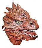 The Rubber Plantation TM 619219293259Deluxe rot Latex Kopf Maske Full Drachen Rolle spielen LARP Fantasy Cosplay Kostüm Coopers Fancy Kleid, Unisex, ONE SIZE