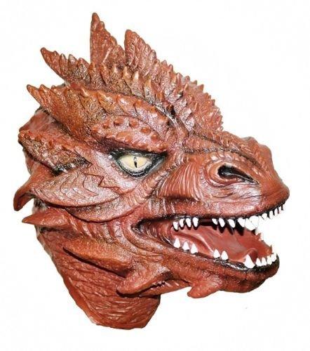 The Rubber Plantation TM 619219293259 - Máscara de dragón de látex rojo de lujo, cabeza completa, diseño de langosta, disfraz de Fantasía, talla única