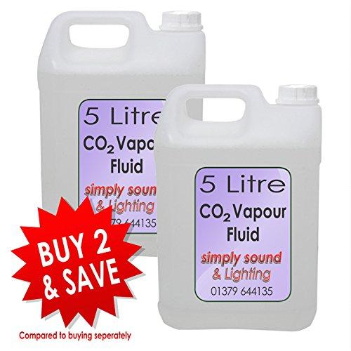 Simply Sound 2 x Dampf Blast CO2 Effekt Rauchflüssigkeit Hochwertige 5L Flasche Flüssigkeit (E Dampf-saft)