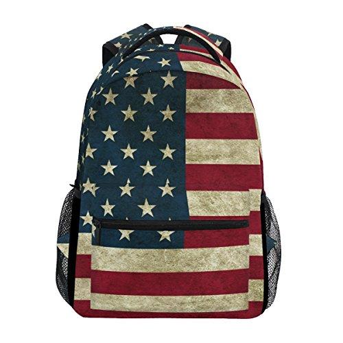 TIZORAX Vintage Bandiera Americana Zaino da Scuola Bookbag Escursionismo Viaggio Zaino