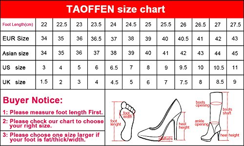 TAOFFEN Femmes Simple Talons Bas Escarpins Black-6023
