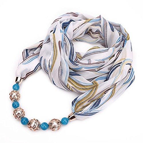 Xuniu sciarpa delle donne, pendente della collana dei monili del pendente della collana chiffona della sciarpa della stampa floreale delle donne hijab molle strisce colorate