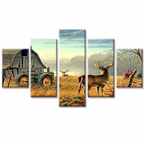 VV art-5Stück HD Print Kabine Traktoren natur Tiere Deers Leinwand Wand Art Home Decor Art Wand dekotarion Gemälde für Wohnzimmer Decor gerahmt zu Aufhängen -