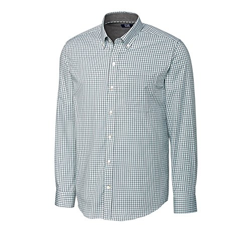 Cutter & Buck Men's Big and Tall Small Plaid and Check Easy Care Button Down Collared Shirts, Aquastone Blue Easton Plaid, 3XT (Big And Tall Baumwolle Kleid Shirt)