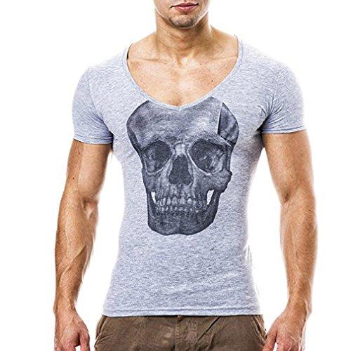 Schädel Druck T-Shirt Herren, DoraMe Männer 2018 Mode Persönlichkeit Bluse Casual Schlank Kurzarm Shirt Slim Fit Top Yoga Hemd (Grau, Asien Größe M) (Großes T-shirt Harley-davidson)