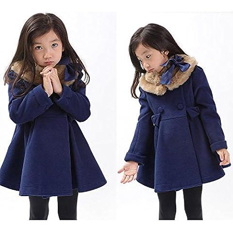 MYM Las nuevas chicas grandes vírgenes capa de lana gruesa capa de lana de marea para niños niñas caen y ropa de invierno ,