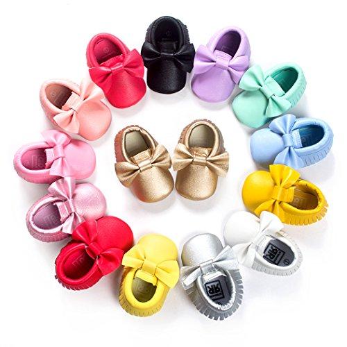 Anna-Kaci Baby Bogen weiche Sohle Leder Schuhe Infant Jungen Mädchen Kleinkind Mokassin 0-18 Monate grün