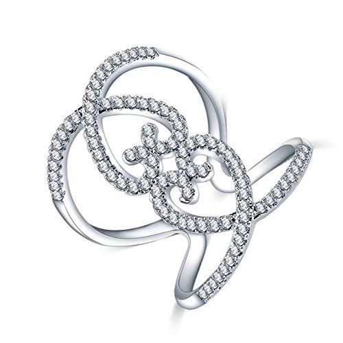 Adisaer Damen Ring Versilbert Verlobungsring Silber Twill Kristall Herz Strass Einstellbar Ringe Größe 52 (16.6) Bandring Für Frauen (Hund Kostüm Pharao)