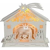 WeRChristmas Pre-Lit Christmas Wooden Nativity Scene Decoration Illuminated with Warm LED, 18 cm - Multi-Colour