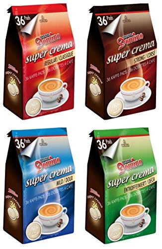 Domino café - Lot découverte - 4 x 36 dosettes compatibles Senseo - Classique, Doux, Corsé et Déco