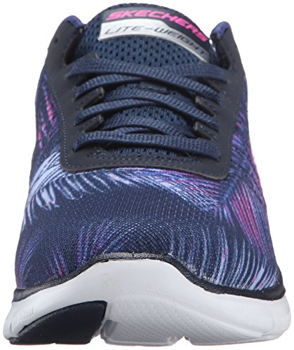 Skechers Flex Appeal 2.0 Tropical Bree, Chaussures Multisport Outdoor Femme Bleu (Nvpk)