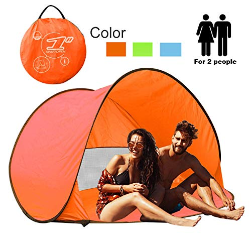 Portable Pop Up Sun Tent Automatik Instant Cabana Familie UV Schutz Beach Shelter für Outdoor Camping Beach Angeln Garten Orange (2-3person)