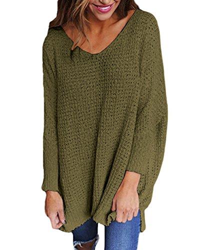 Sentao Donna Maglie Inverno Elegante Pullover V Scollo Manica Lunga Maglione Casual Sciolto irregolare Maglietta Maglia Sweater Verde