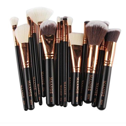 BZLine® Pinceax Maquillage, 15Pcs Pinceaux Maquillage Professionnel pour les Poudres, Anticernes, Contours, Fonds de Teints, Mélanges et Eyeliner - Multicouleur (K1)