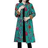 SEWORLD Winterjacke Steppjacke Mantel Damen Heißer Einzigartiges Design Folk-Custom Drucken Buttons Baumwolle Outwear Warme Lange Dicke Jacke Parka(Grün,EU:36-38/CN:M)