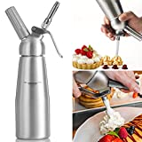 from Werded Cream Whipper Werded 0.5 Liter Professional Aluminum Whipped Cream Dispenser W/ 3 Decorating Nozzles & Free Desserts Recipes Uses Standard N20 Cartridges (not included)