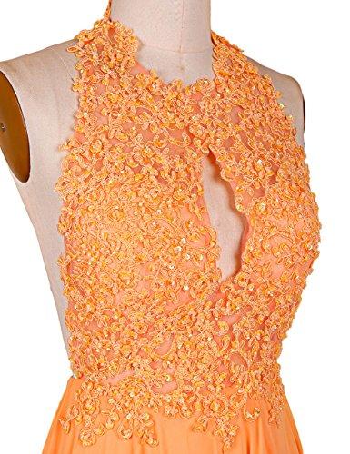 Dressystar Robe femme, Robe de soirée/gala longue,dos nu,à traîne,appliques en Mousseline Jaune