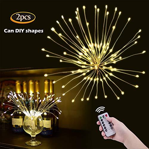 OOTOO 2Stücke LED Lichterkette Feuerwerk Hängend Lichterketten Batteriebetrieben Fernbedienung Warmweiß (120 Lichter) Danner 8