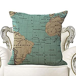 honeysuck viaje mundo mapas sofá almohada cojín de lino y algodón