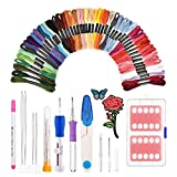 Ensemble de stylo de broderie magique KNITISS stylo à broder Punch Needle Kit Craft outil y compris 50 fils de couleur pour bricoleurs Threaders couture tricot (50 Colors)