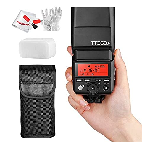 Godox TT350N 2.4G TTL HSS 1/8000s Blitzgeräte Kamera Blitzlicht mit Pergear® Reinigung Set für Nikon DSLR Mirrorless Kamera D800 D700 D750 D7000 D7100 D7200 D5100 D5200 D5000 D300 D300S D3200 D3100 D200 D70S D810 D610 D90
