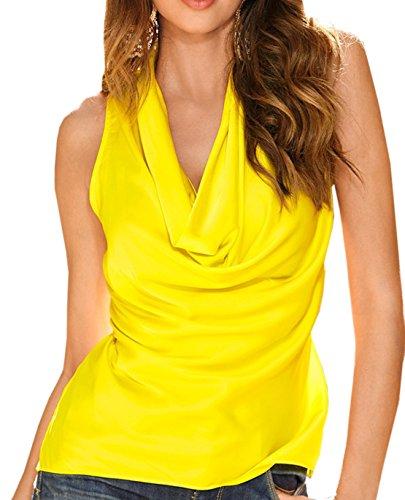 Frauen Sommer Sleeveless Loose Chiffon Weste Tops V-Ausschnitt Normallacks Shirt Oberteile Gelb