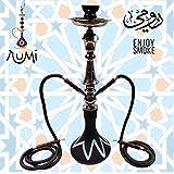 RUMI L 2Schlauch Shisha AL Rauchen Glas Wasserpfeife 2Rohr Fakher, Geschmack 65cm
