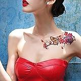 TAFLY Schmetterling Blume Tattoo rote temporäre Tattoo Aufkleber für Frauen 5 Blätter