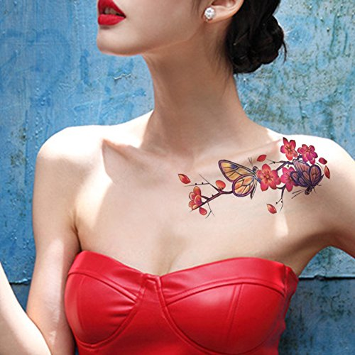 tafly-papillon-fleur-tatouage-temporaire-rouge-sticker-pour-femmes-5-feuilles